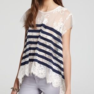 BCBGMaxAzria Echo shirt w/ lace and stripes XS